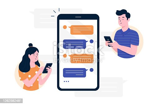 istock Chat messages smartphone, Sms on mobile phone screen. Man, woman couple chatting, Messaging using chat app or social network. Two persons cellphone conversation sending messages. vector illustration. 1262582481