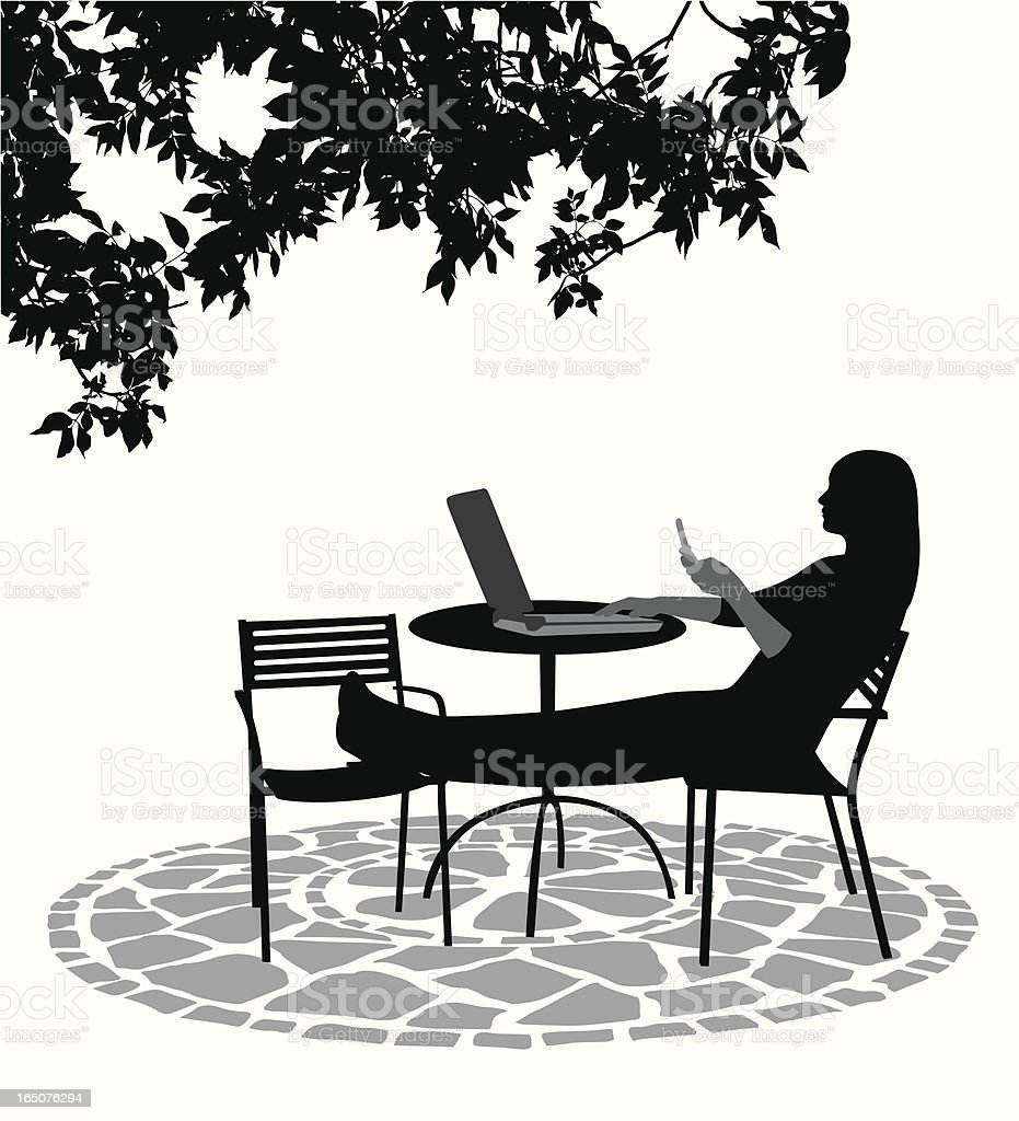 Chat Relax Vector Silhouette vector art illustration