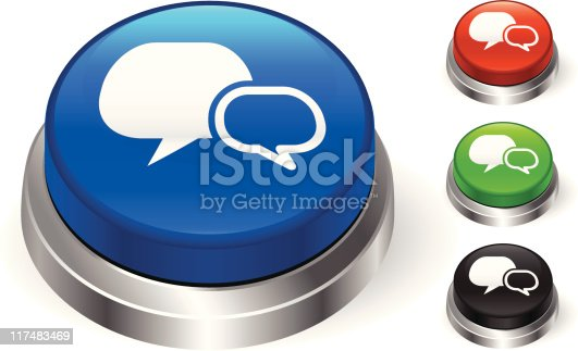Chat Room Icon 3d Push Button Stock Vector Art 117483469 Istock