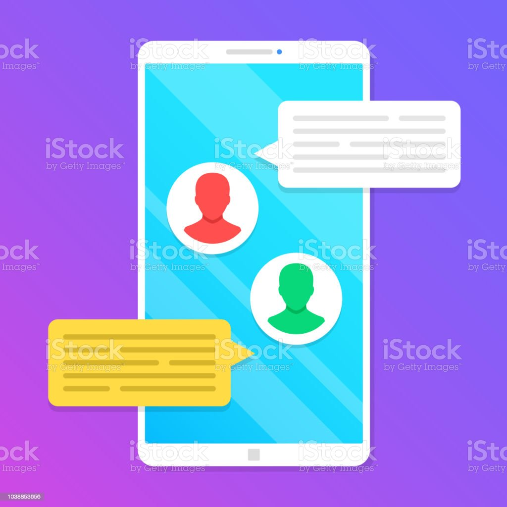 Chat Smartphone With Message Speech Bubbles And User Profile