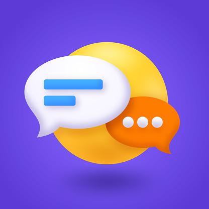 Chat speech bubble communication symbol icon design 3d.