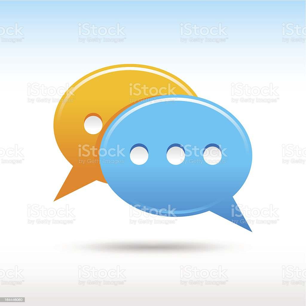 Chat speech bubble icon with gray drop shadow vector art illustration