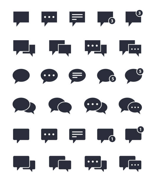 stockillustraties, clipart, cartoons en iconen met chat toespraak bubble iconen set, informatieborden - talking