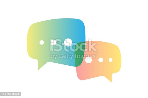 Chat speech bubble template set. Online communication two gradient message symbol. Vector dialog talk sign illustration