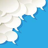 Chat speech bubbles ellipse vector white blue in the corner.