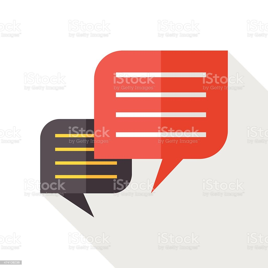 Chat speech flat icon with long shadow vector art illustration