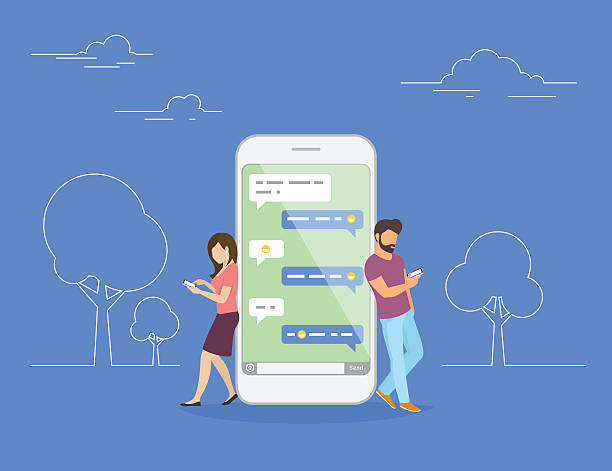 Chat talk concept illustration Chat talk concept illustration of young people using mobile smartphone for sending messages to each other. Flat design of guy and woman standing near big smartphone with speech bubbles in chat online dating stock illustrations