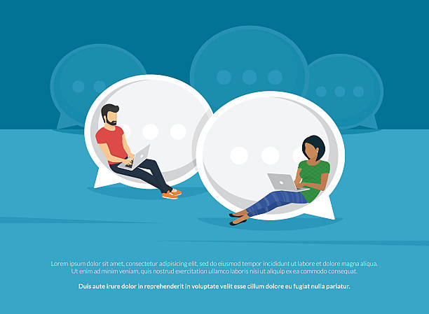 Chat talk concept illustration Chat talk concept illustration of young people using laptops for sending messages to each other via internet messenger. Flat guy and woman sitting on the big speech bubbles and typing messages online dating stock illustrations
