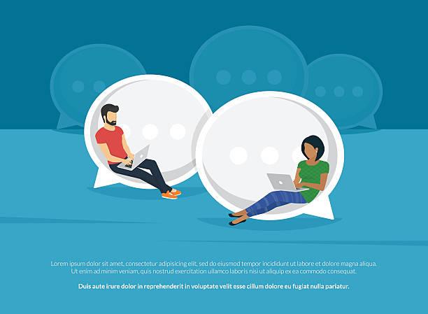 bildbanksillustrationer, clip art samt tecknat material och ikoner med chat talk concept illustration - social media post template