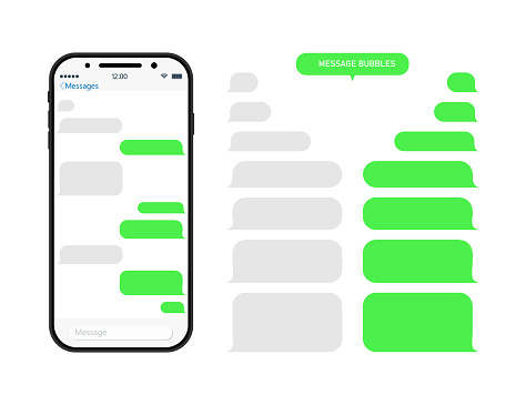 Chat through bubble in phone. Chatbot in messenger. Message in whats. Sms and conversation in app on mobile screen. Interface with speech balloons, social talk. Smartphone with ui for dialog. Vector