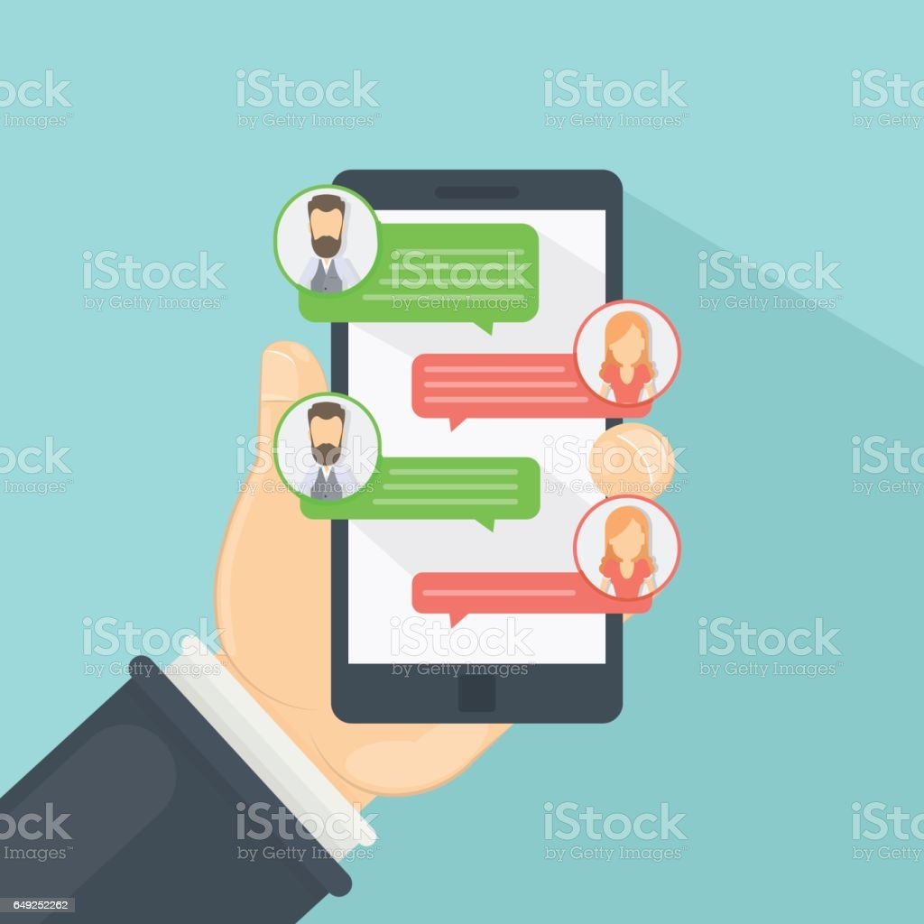 Chat via smartphone. vector art illustration