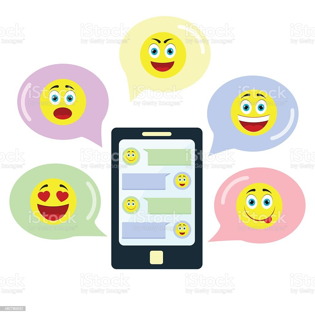 Chat with emoticons vector art illustration