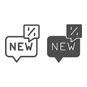Chat with text new and percent line and solid icon, Black Friday concept, Speech bubble with percent text sign on white background, Discount sale dialog icon in outline style. Vector graphics