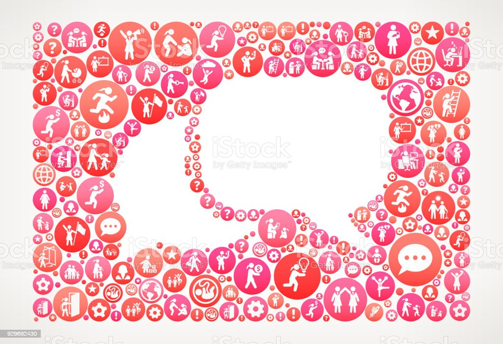 Chat Women Girl Power Vector Icons Pattern vector art illustration