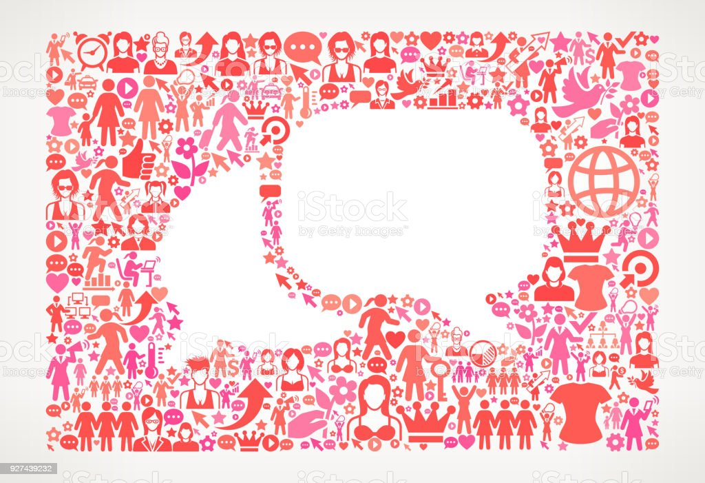 Chat Women's Rights Vector Icon Pattern vector art illustration