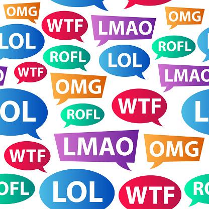 Chat Words Lol Omg Wtf Rofl Lmao Internet Slang Stock ...
