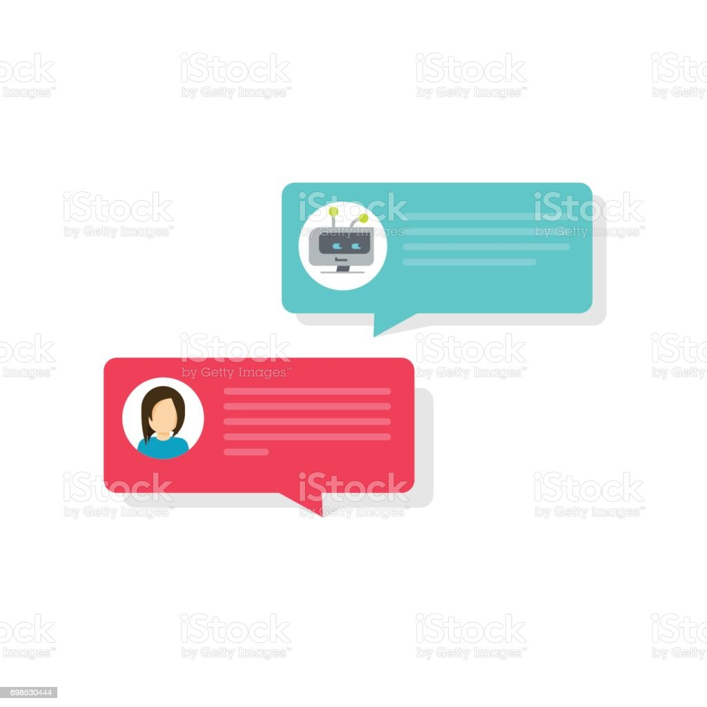 Chatbot and chat bubble icons vector illustration, flat bot and person messaging bubbles, idea of internet automatic dialog with computer intelligence, future communication, conversation, talk vector art illustration