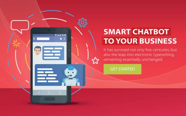 Chatbot and future marketing concept. Modern banner for the site. Dialog box of mobile phone. vector art illustration