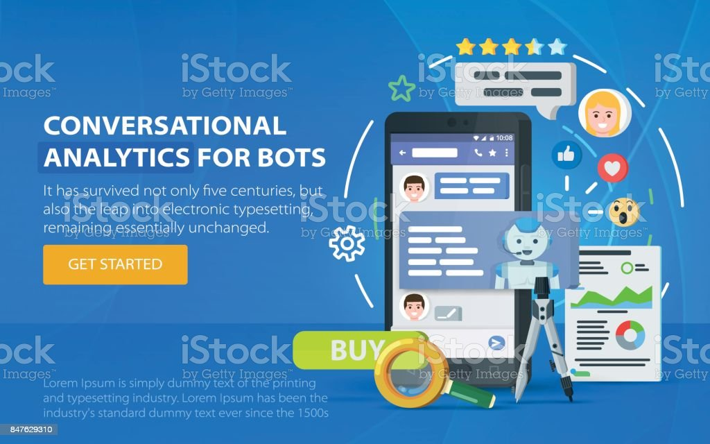 Chatbot business concept. Messenger window. Chating and messaging concept. Chatbot and future marketing analytics. vector art illustration