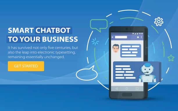 Chatbot business concept. Modern banner for the site. Chatbot and future marketing concept. vector art illustration