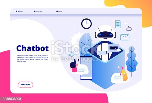 Chatbot concept. Chat with android woman man talking with mobile phone to ai application bots help human future technology vector page. Illustration of ai robot help, mobile bot and chatbot service
