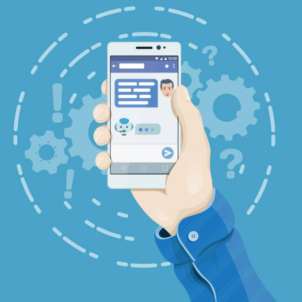 Chatbot concept in flat style. Hand holding smartphone with chatting bot application on the screen. Man's hand holding a phone concept. vector art illustration