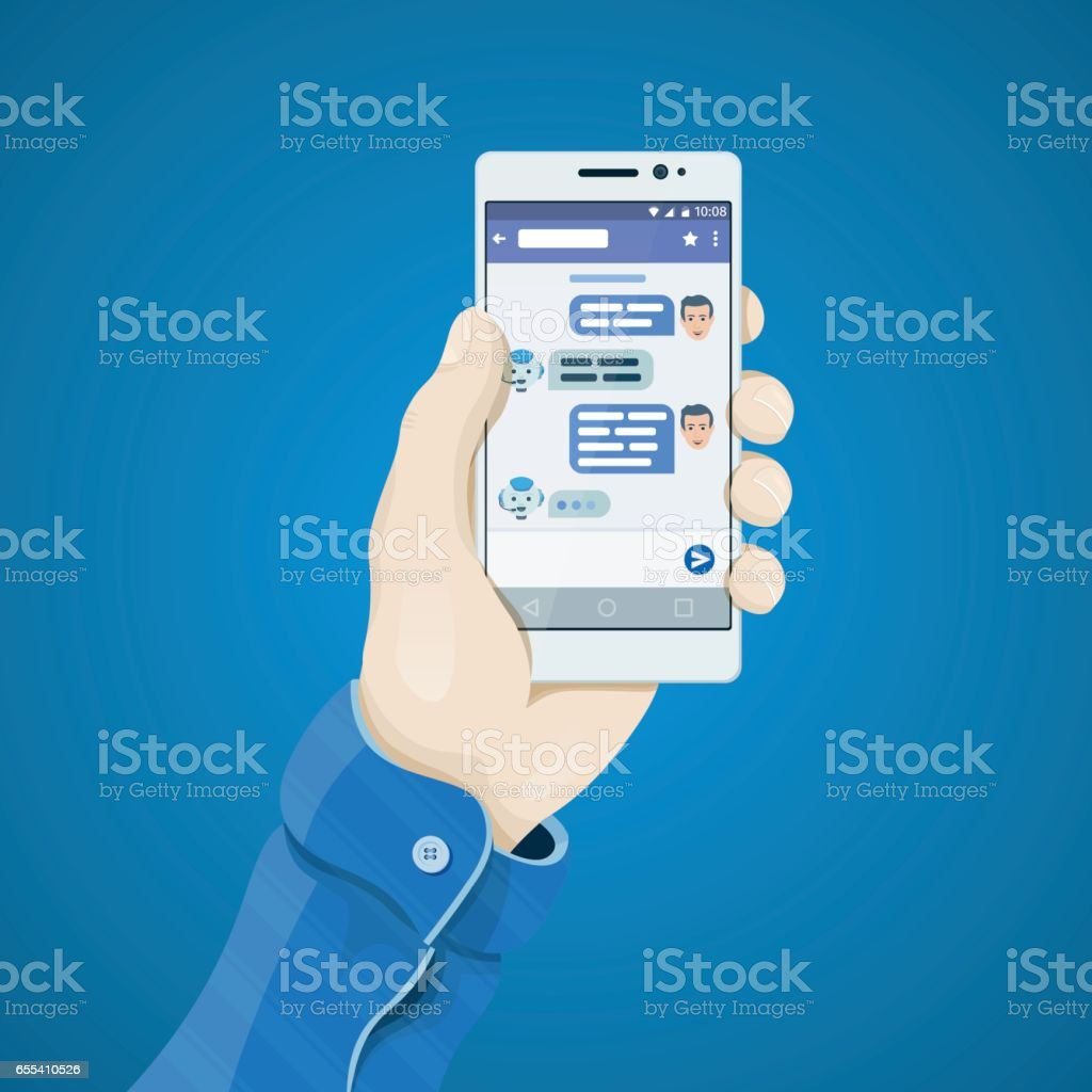 Chatbot concept. Phone in hand in flat style. Man's hand holding a phone concept. Dialogue on the smartphone screen. vector art illustration
