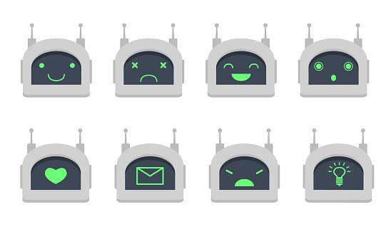 Chatbot head flat icon set