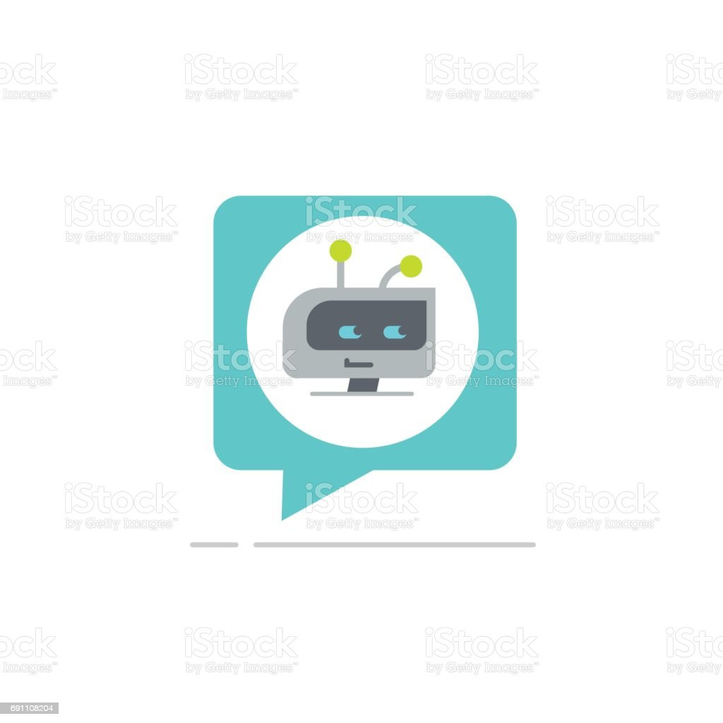 Chatbot in chatting bubble speech vector icon, chat bot service icon, robot head vector art illustration