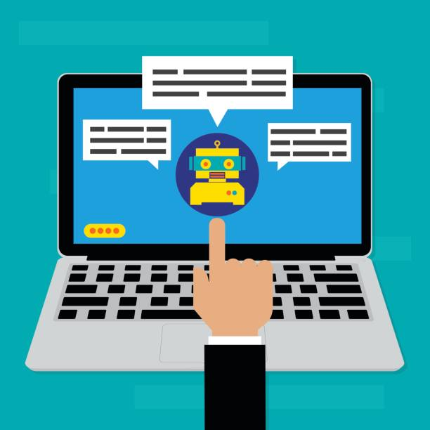 Chatbot on computer laptop.Vector illustration Chatbots AI artificial intelligence technology concept. vector art illustration