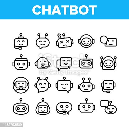 istock Chatbot Robot Collection Elements Icons Set Vector 1185793539