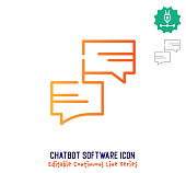 Chatbot software vector icon illustration for logo, emblem or symbol use. Part of continuous one line minimalistic drawing series. Design elements with editable gradient stroke.