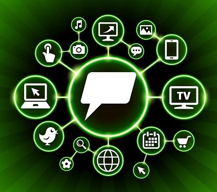 Chatbubbles Internet Communicatie Technologie Dark Knoppen Achtergrond Stockvectorkunst en meer beelden van Achtergrond - Thema