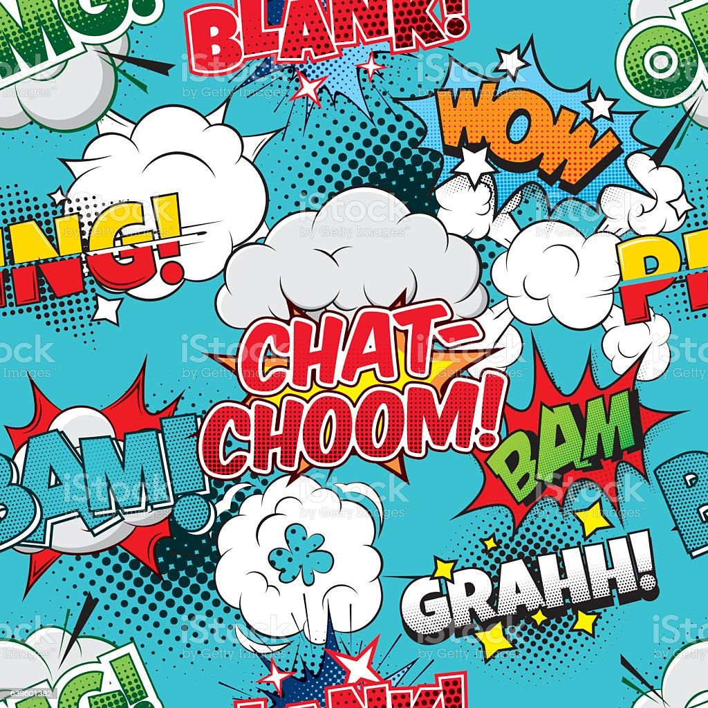 Chat-choom Seamless comics background vector art illustration