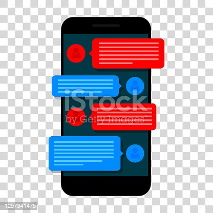 Chating and messaging concept. Smartphone isolated on transparent background. Social network concept. Vector illustration. Flat design.