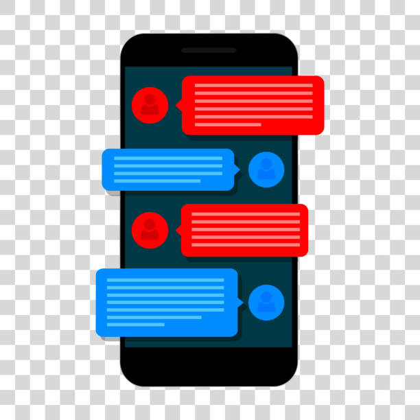 Chating and messaging concept. Smartphone isolated on transparent background. vector art illustration