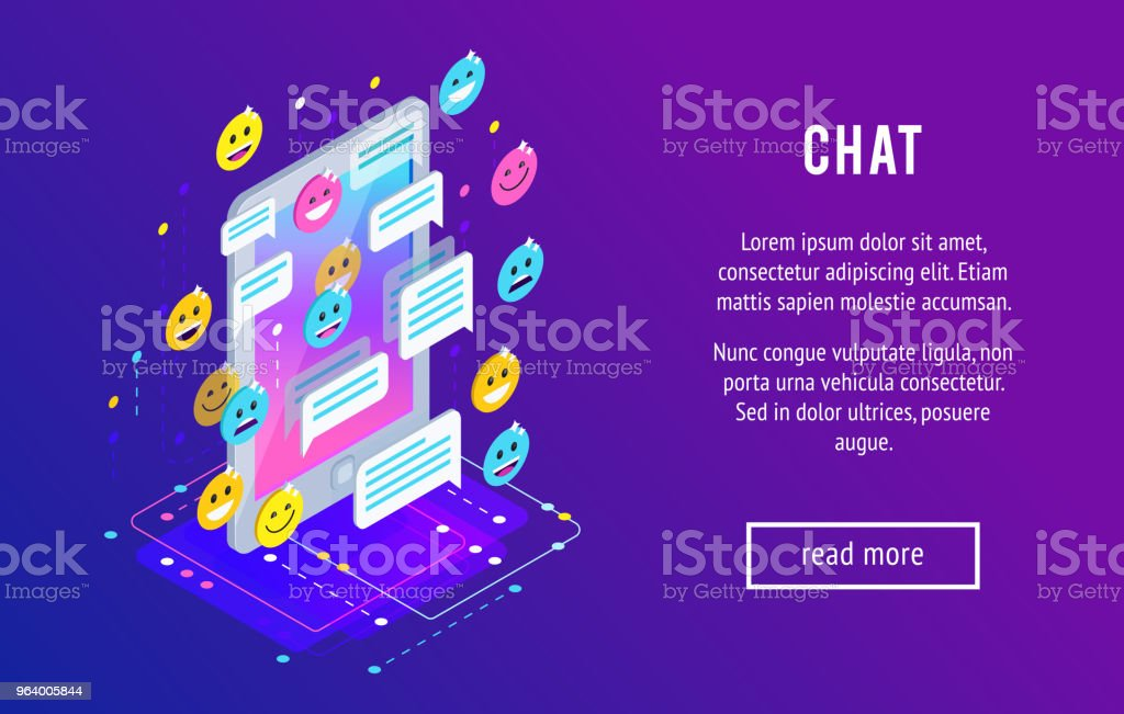 Chating. Isometric chat concept. - Royalty-free Applying stock vector