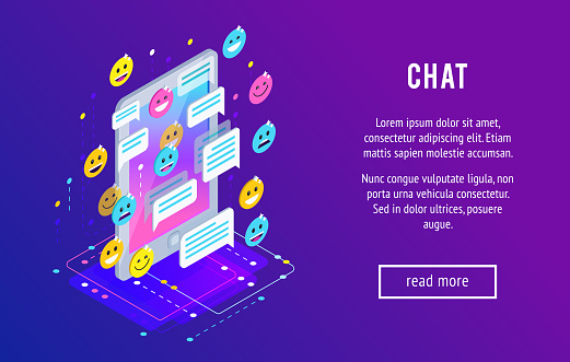Chating Isometric Chat Concept Stock Illustration - Download Image Now