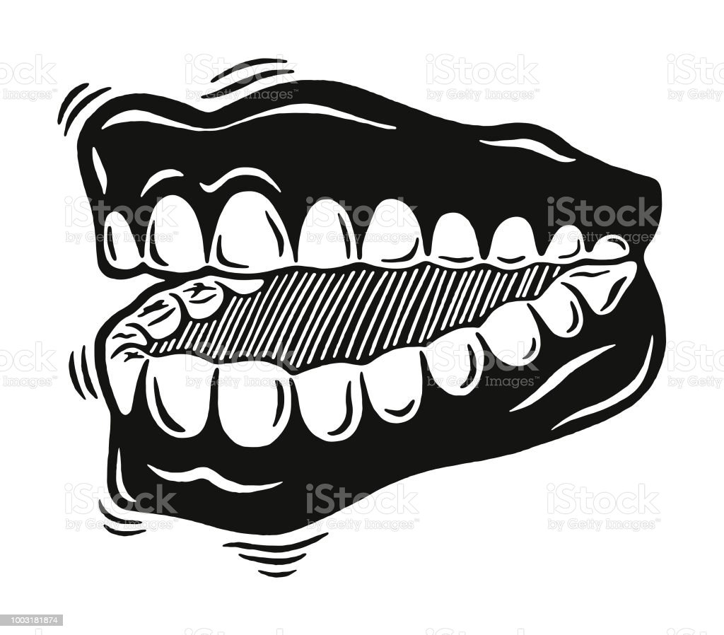 Jumping Chattering Teeth Illustration Stock Illustration - Download Image  Now - iStock