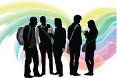 Silhouette illustration of a crowd of student standing and talking with a watercolor swirl background