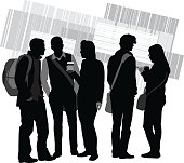 A vector silhouette illustration of young adult students gathered socializing.  A group of three young men and a yougn women stand together in discussion holding a cup of coffee and wearing backpacks.  A young woman texts on her cell phone while another young man looks away.  They standing in front of a striped block design pattern in the background.