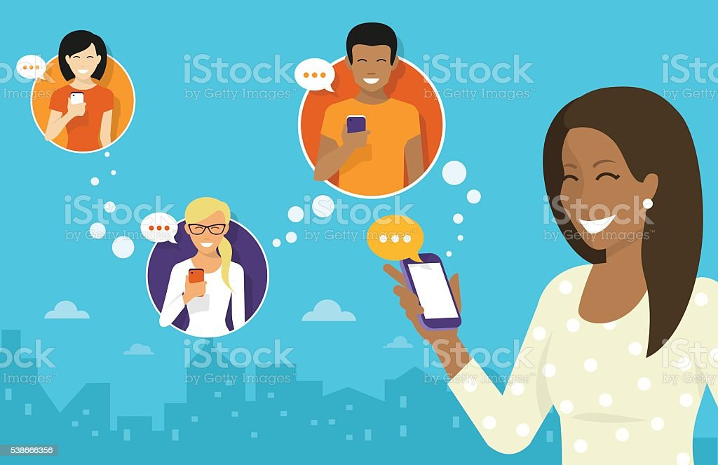 Chatting with friends via messenger app vector art illustration