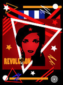 Che guevera girl poster background, cuba flag vector illustration
