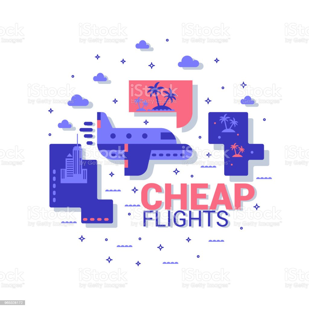 Cheap flights icon. The concept of travel. Vector flat. royalty-free cheap flights icon the concept of travel vector flat stock vector art & more images of airplane