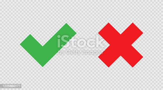 Check and cross mark on transparent background. Icon in flat style, isolated vector illustration