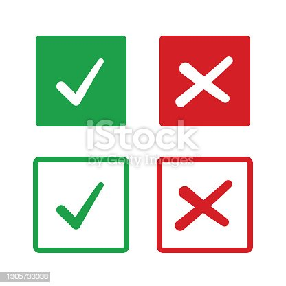 istock check and uncheck icon vector. validation icon vector. checkmark and X mark icon 1305733038