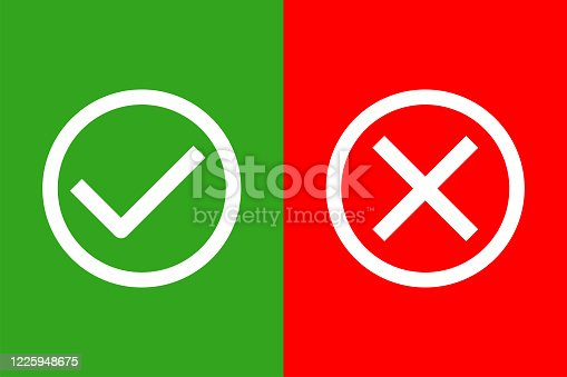 istock check and uncheck icon vector. validation icon vector. 1225948675