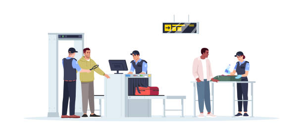 Check before boarding plane semi flat RGB color vector illustration Check before boarding plane semi flat RGB color vector illustration. Security border control. Checked baggage on conveyor. Airport staff isolated cartoon characters on white background airport clipart stock illustrations