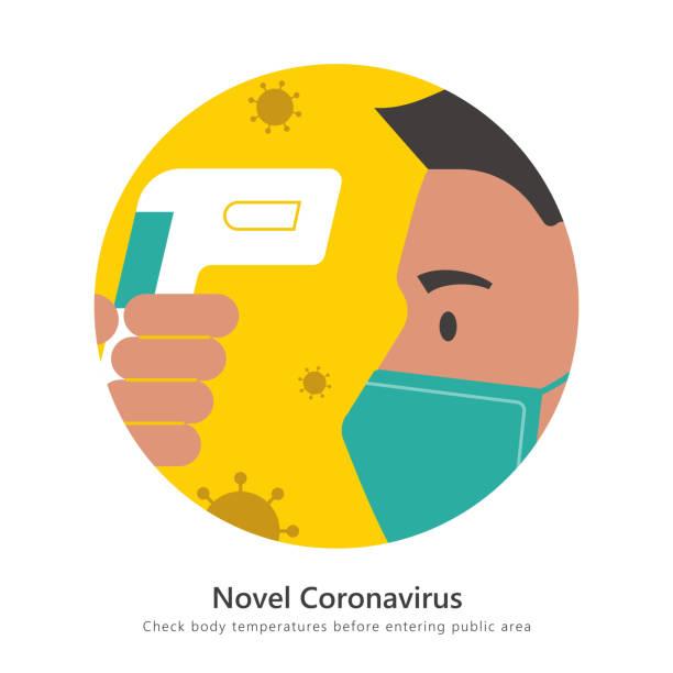 Check body temperature sign Check body temperature during Coronavirus outbreak sign, flat design illustration for COVID-19 infrared stock illustrations