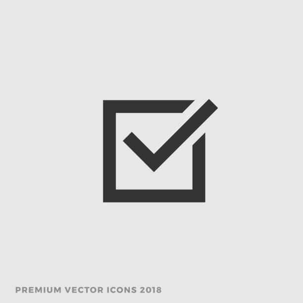 Check Box Icon, Vector Vote Yes Sign Check Box Icon, Vector Vote Yes Sign accuracy stock illustrations